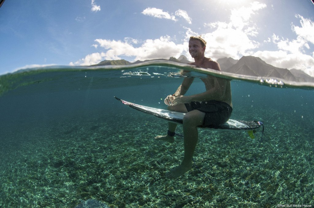 Kolohe Andino relaxes in Teahupoo, Tahiti, French Polynesia on August 16th, 2014