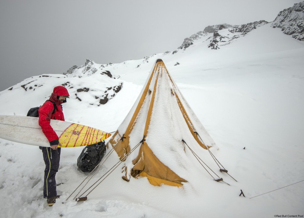 Dan Malloy prepares at Red Bull surfing Antartica in Antartica, Chile