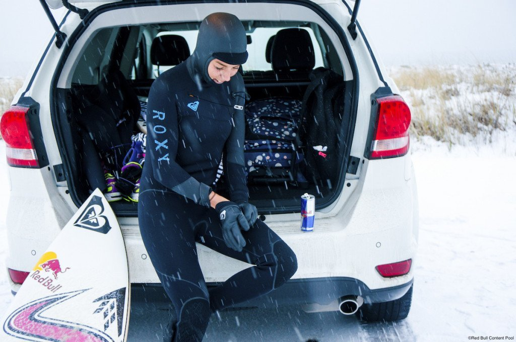 Sally Fitzgibbons prepares to surf in Nova Scotia, Canada