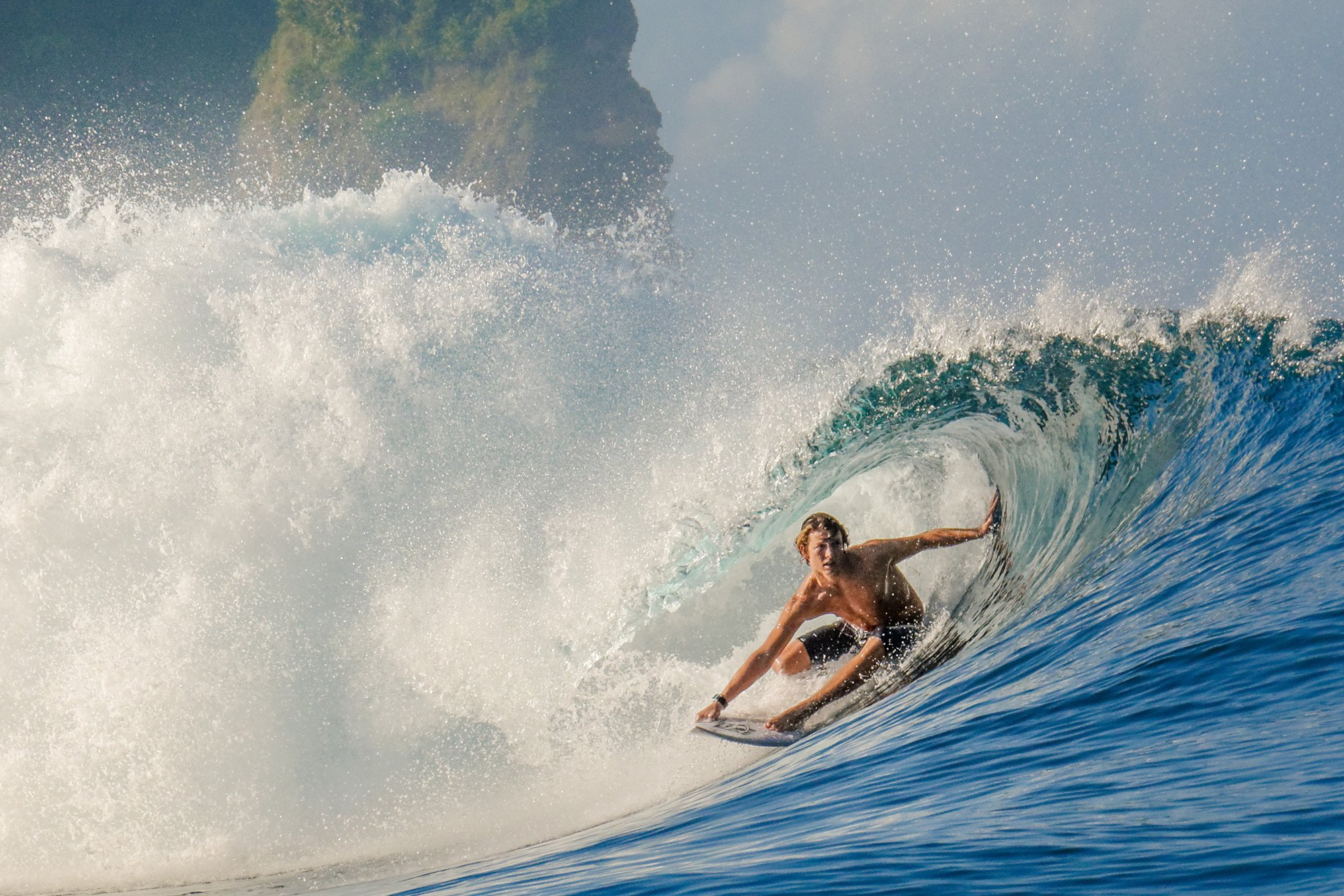 Barreling in Occy's left at Nihiwatu, Sumba -