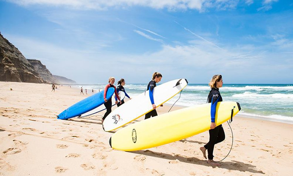 Surf class at a beach in Portugal