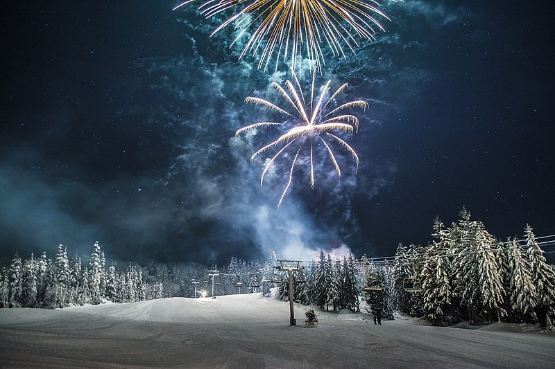 New year's eve in Whistler from Skiers Plaza. Photo: Martin Bell