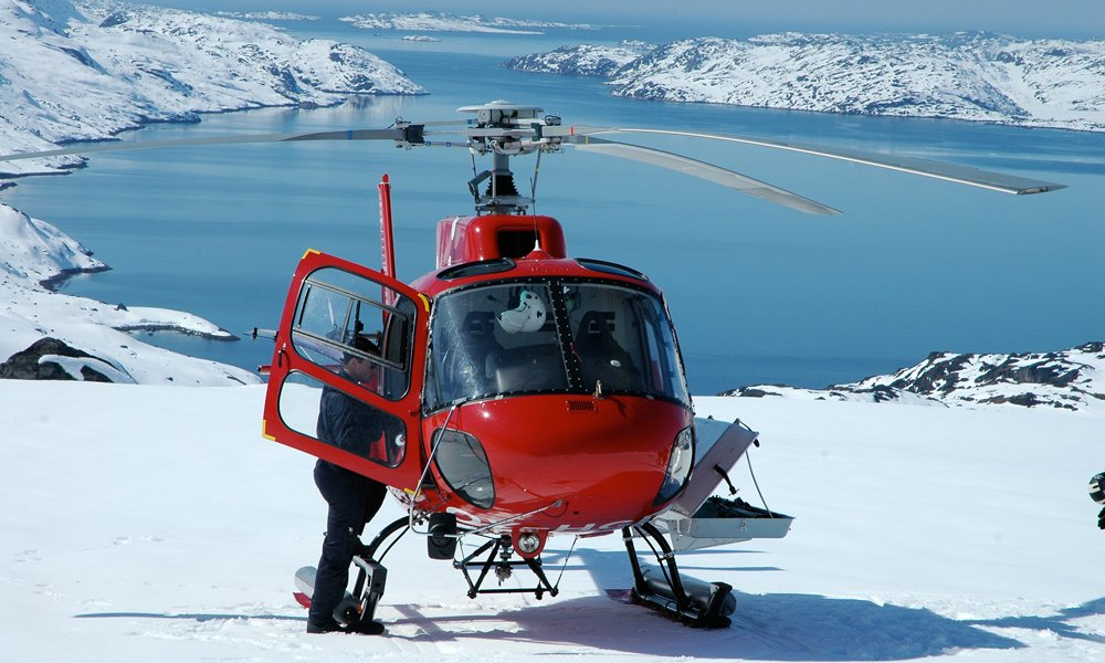 Helicopter skiing in Greenland.