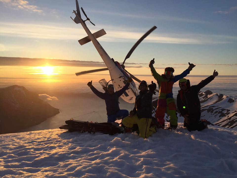 Happy skiers and pilots in Iceland.