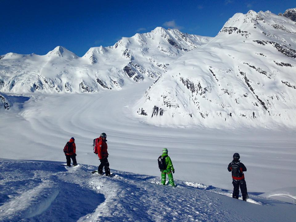 snowboarding in a group