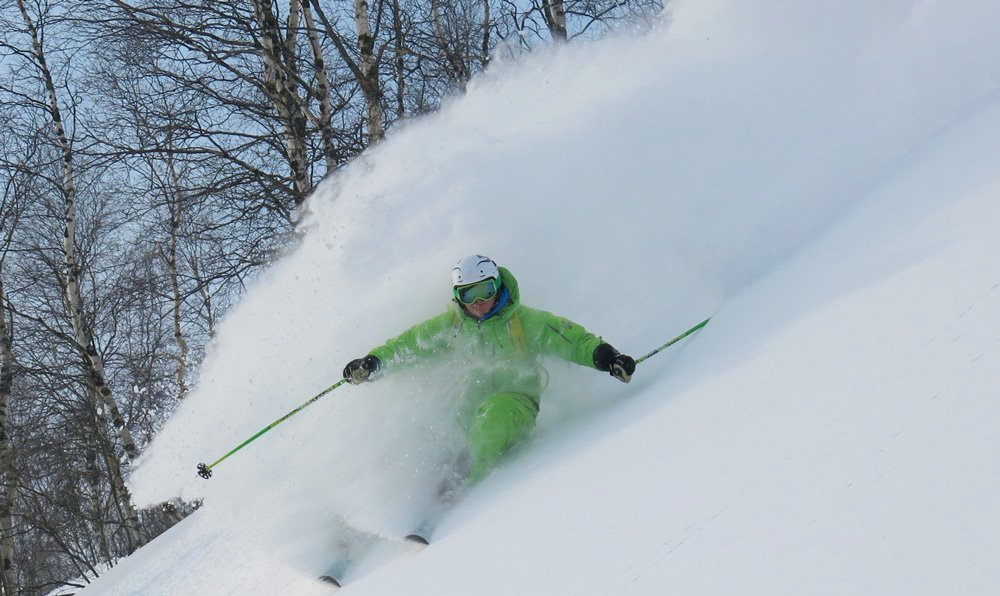 skiing in deep russian powder