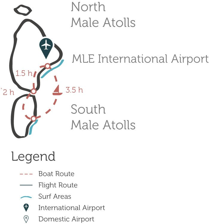 Nort Malde and South Male Atolls, Maldives Surfing Map