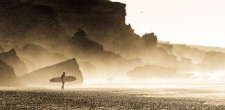 Lonely surfer in morocco