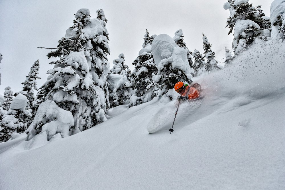 Deep powder in Canadas backcountry