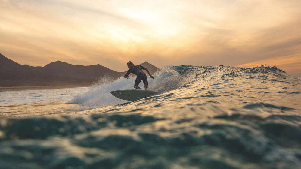 Sunset surfing in Fuerteventura