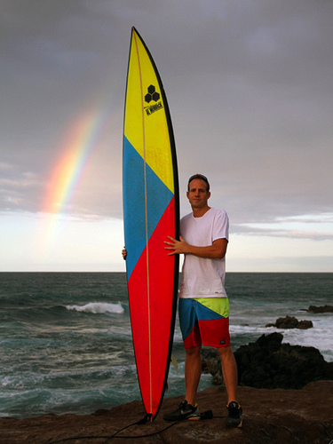 Man with big wave gun surfboard